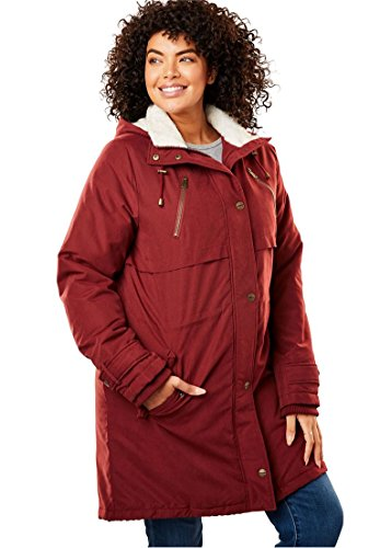 Women's Plus Size Silk Soft Utility Anorak Antique Maroon,24 (Hooded Silk Coat)
