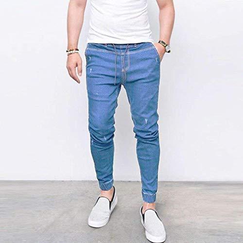 Media Elastico Fit Slim Confortevole In Strappato Hellblau Casual Qk Moda Denim Vita Pantaloni Stretch Uomo lannister Jeans Pants Attillato Ragazzo 7wTqXg