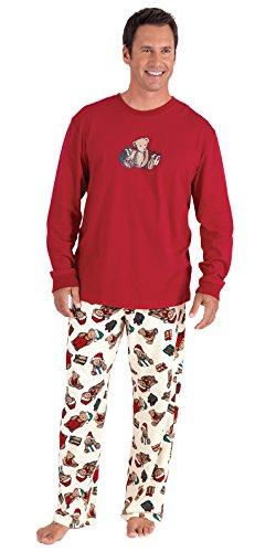 eddy Bear Christmas Men's Pajama Set, Red, LRG ()