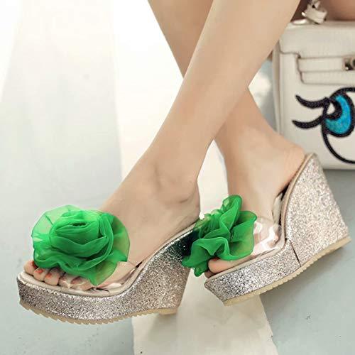 Grün 11 Femme JYshoes 5cm Mules EqwnXRRA