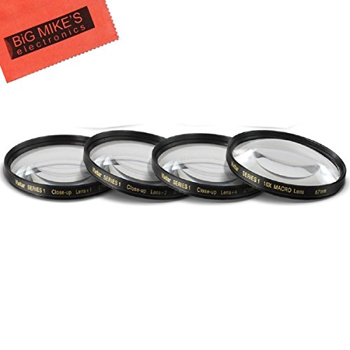 67mm Close-Up Filter Set (+1, 2, 4 and +10 Diopters) Magnificatoin Kit for Nikon CoolPix P900 Digital Camera