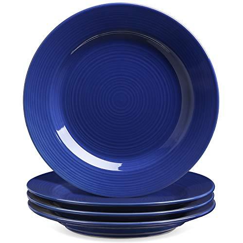 Le Tauci 4 Piece 8 Inch Ceramic Salad Plate Set, Blue