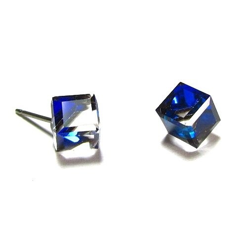 Bermuda Blue Tilted Cube Finest Austrian Crystal Earrings, 6mm 6 Mm Cut Cubes