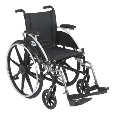 Drive Medical Viper Wheelchair with Various Flip Back Desk Arm Styles and Front Rigging Options, Black, 14''