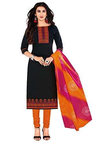 Miraan Women Cotton Unstitched Dress Material (SAN1428, Black, Free Size)