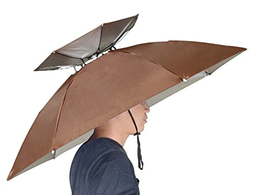 NEW-Vi 37.4 Diameter Double Layer Folding Compact UV Wind Protection Umbrella Hat for Fishing Gardening Outdoor