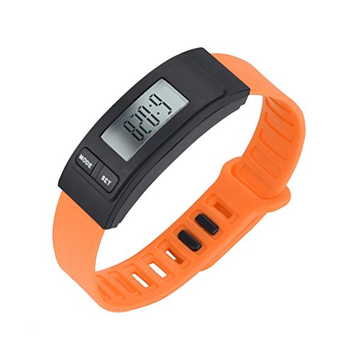 Walk Run Step Watch Bracelet Pedometer Calorie Counter Digital LCD Walking Distance-Men/Women (Orange) ()