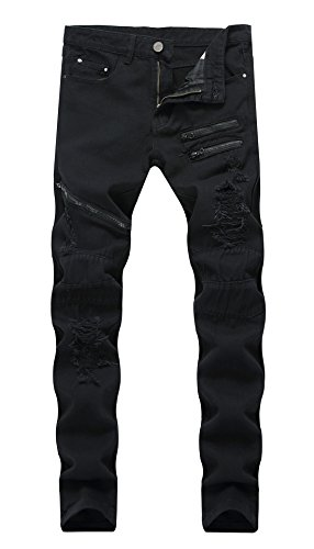 FEESON Men's Fashion Slim Fit Stretchy Distressed Zipper Broken Hole Outfit Jeans Black ()