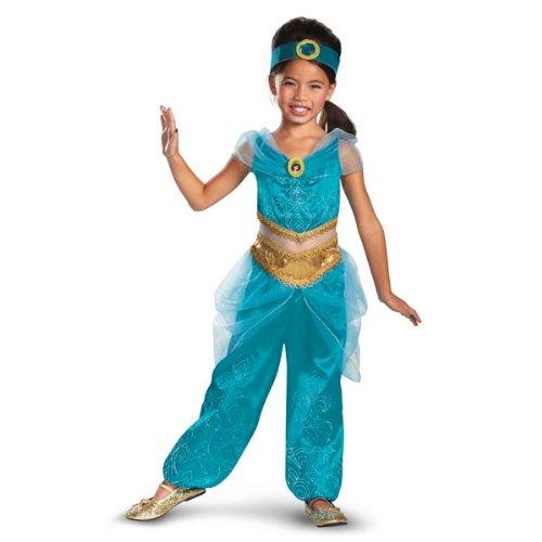 Disguise Disney's Aladdin Jasmine Sparkle Deluxe Girls Costume, (Disney Jasmine Halloween Costume)