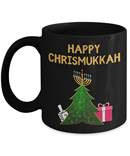 (Funny Happy Chrismukkah Décor Ornaments Ceramic Coffee Mug 2017 - Christian / Jewish DREIDEL Christmas Tree Gift- Hebrew Menorah Decoration)