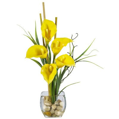 Nearly Natural Calla Lilly Liquid Illusion Silk Flower Arrangement
