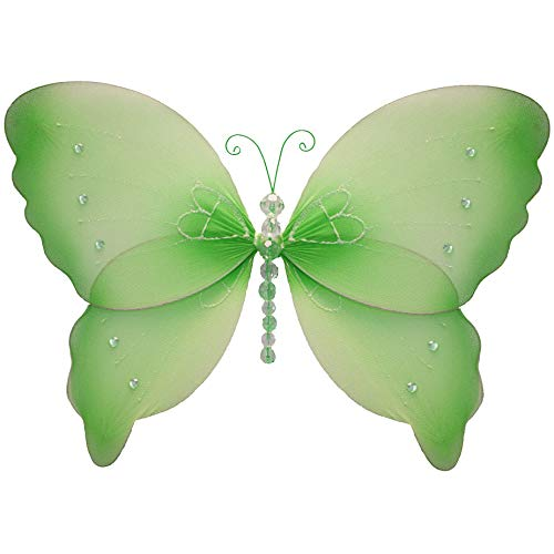 "Butterfly Decorations 13"" Large Green Crystal Nylon Hanging Butterflies Decorate Baby Nursery Bedroom Girls Room Ceiling Wall Decor Wedding Birthday Party Shower Kids Butterfly Decoration Art Craft"