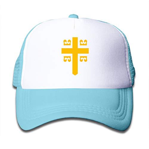 Byzantine Imperial Flag Kids Adjustable Baseball Mesh Caps Childrens Trucker Hats Sky Blue ()
