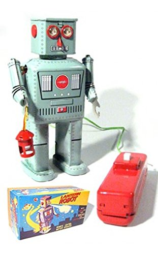 Lantern Robot Battery Tin Toy Remote Controlled Robot