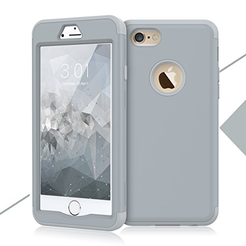 Hard Grey Rubber (iPhone 6S Case, iPhone 6 Case, WeLoveCase Defender Series Hybrid High Impact Heavy Duty Hard PC Outer Shell with Inner Soft Rubber 3 in 1 Fullbody Armor Protective Case for iPhone 6S/6 4.7