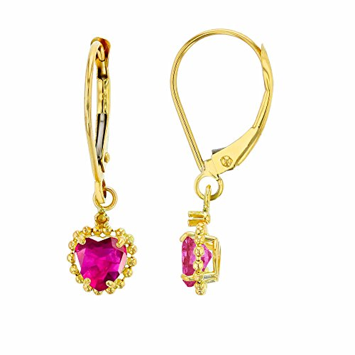 10K Yellow Gold 1.25mm Round Created White Sapphire & 5mm Heart Created Ruby Bead Frame Drop Leverback Earring