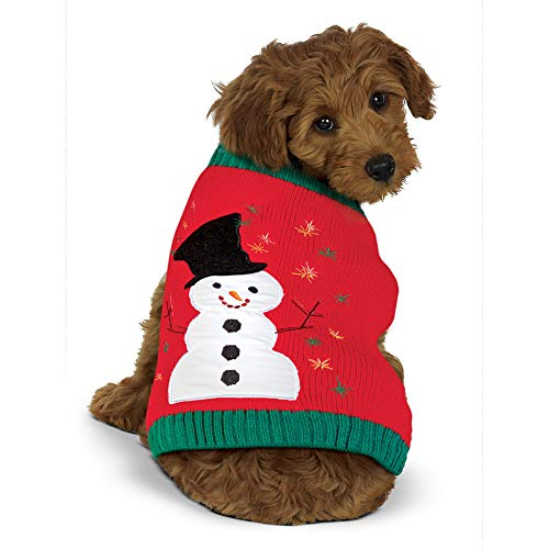 Collections Etc Cute Snowman and Embroidered Snowflake Dog Sweater with Ribbed Trim, - Embroidered Snowflakes Sweater