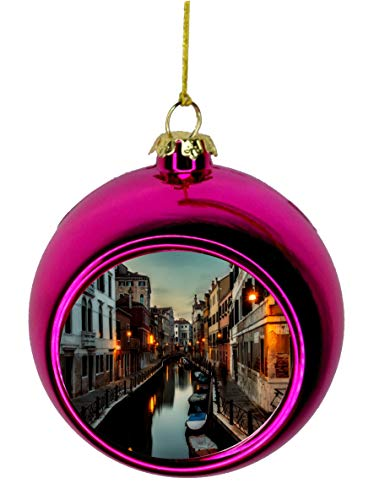 Lea Elliot Inc. Venice River Venetian Gondolas Italy Bauble Christmas Ornaments Pink Bauble Tree Xmas Balls