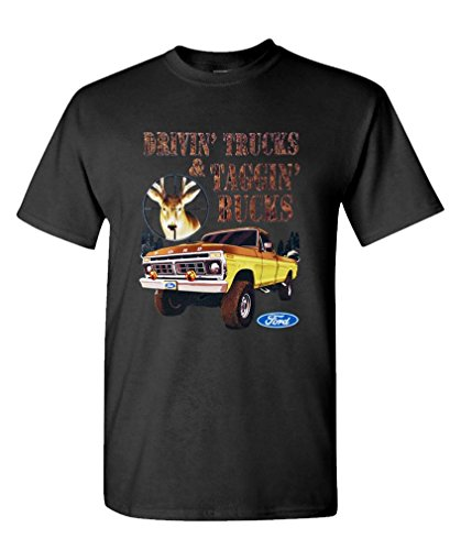 FORD TAGGIN BUCKS - deer hunting redneck Tee Shirt T-Shirt, M, Black (Ford Items)