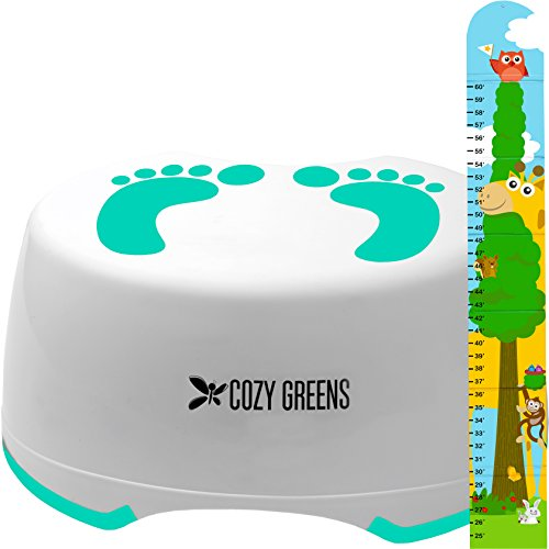 Step Stool for Children | Anti-Slip Top and Bottom | Easy Hygienic Cleaning | FREE Potty Training eBook | Perfect height for Toddler Toilet Training or Kids Bathroom and Kitchen (green) by COZY GREENS