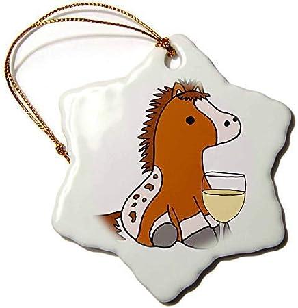 Dant454ty Appaloosa Pony o Caballo Bebiendo Vino Adornos de Navidad para el Hogar 2019 para Mujeres Amigas Niños Adorno de Árbol de Navidad