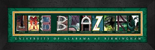 Prints Charming Letter Art Framed Print, U of Alabama Birmingham-UAB Blazers, Bold Color Border