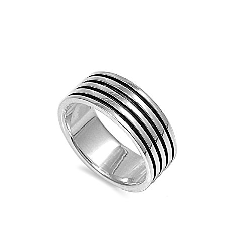 CloseoutWarehouse Sterling Silver Quad Black Stripe Band Ring Size 10