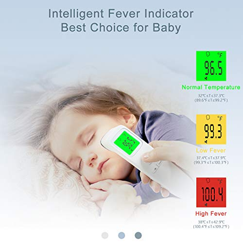 XDX Thermometer for Adults Forehead, [2020 Upgraded Model] No Touch Thermometer with Fever Alarm and Memory Ideal for Babies, Kids, Adults, Indoor Outdoor Medical Use 41fRM5 2BjiGL