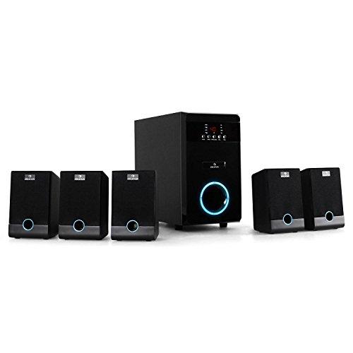 auna Heimkino aktives 5.1 Lautsprechersystem (95W RMS, blauer LED-Lichteffekt, Fernbedienung, Sleeptimer, Subwoofer) schwarz