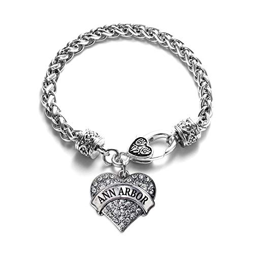 (Inspired Silver - Ann Arbor Braided Bracelet for Women - Silver Pave Heart Charm Bracelet with Cubic Zirconia Jewelry)