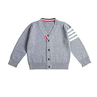 Fairy Baby Boys Cable Knit Sweater Cardigan V Neck Spring Fall Long Sleeve School Uniform Size 2T (Gray)