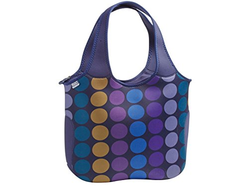 BUILT NY Essential Neoprene Shopping Tote Bag, Plum Dot