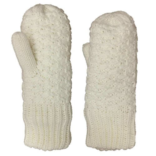 Ivory Chunky Knit Mittens...