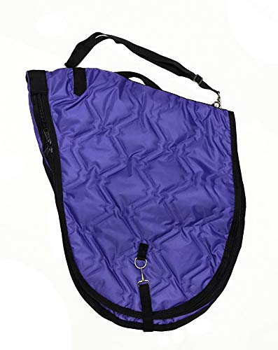 AJ Tack Wholesale English Horse Saddle Carrier Travel Case Bag All Purpose Saddle Quilted Purple ()