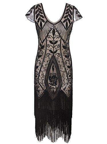Vijiv 1920s Vintage Gatsby Costume Fringe Beaded Flapper Cocktail Dress With (Flapper Girl Costume Homemade)