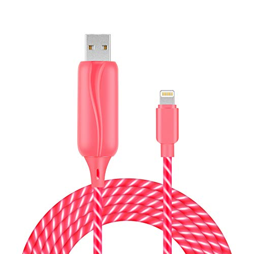 EL-AURORA Lightning to USB Cable 360 Degree Light Up Visible Flowing Glowing LEDiPhone Charger Cable to USB Syncing and Data Cord for iPhone 7/7 Plus/6/6 Plus/6s/6s Plus/5/5s and more-3ft (pink)
