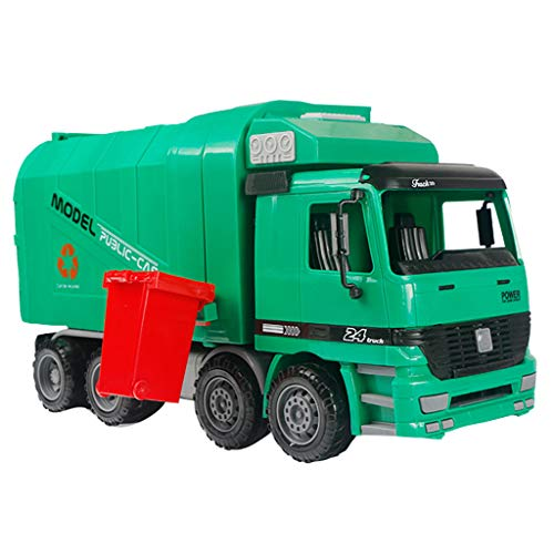 DaoAG Friction Powered Garbage Truck with Garbage Cans Push and Go Car Construction Vehicles Toys Early Educational Toys Pocket Construction Vehicles Trucks Toy for Kids