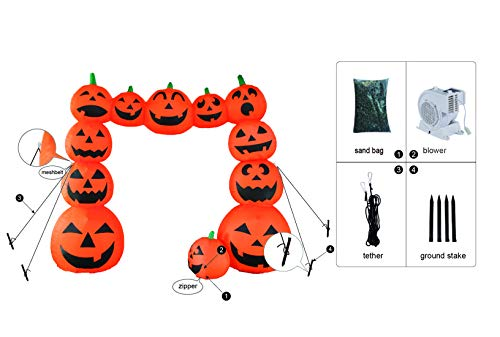 Bigjoys 8 Ft Halloween Inflatable Pumpkin Arch Archway Gate Decoration for Indoor Outdoor Home Yard Party by Bigjoys (Image #3)