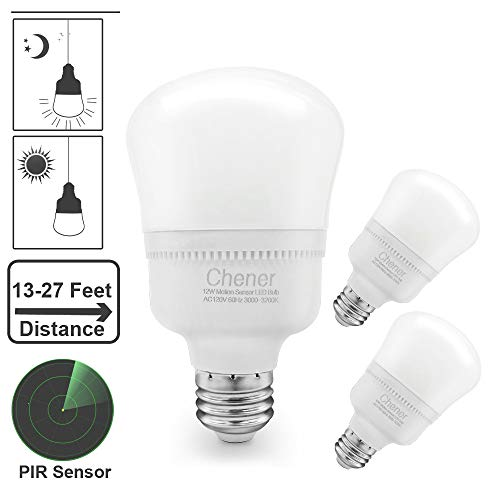 E26 Base 12W Motion Sensor LED Light Bulbs, Built-in Radar Microwave Sensor, 100W Equivalent Soft White 3000K, Dusk to Dawn Detector Auto Switch On/Off for Porch, Garage by Chener (3 Pack)