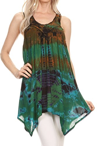Sakkas 17790 - Nalu Sleeveless Relaxed Fit Multi Color Tie Dye V-Neck Blouse | Cover Up - Brown - OS