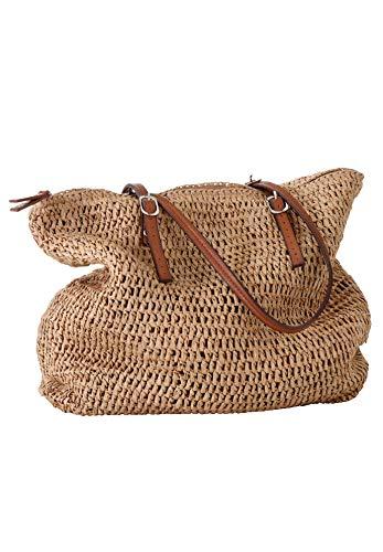 Ellos Women's Plus Size Zip Top Straw Bag - Natural, One Size ()