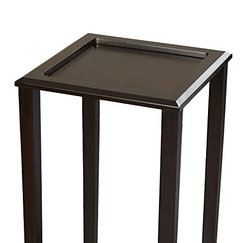 Indoor Plant Stand, Wood Pedestal Telephone Table, Square Contemporary End Table With Bottom Storage Shelf, Brown Finish by Simple Living Products (Image #4)'