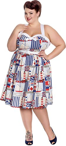 Plus Size Blau Lighthouse Swingkleid Weiß Rot Sailor Bunny Damen Kleid Hell xqwHgSzg