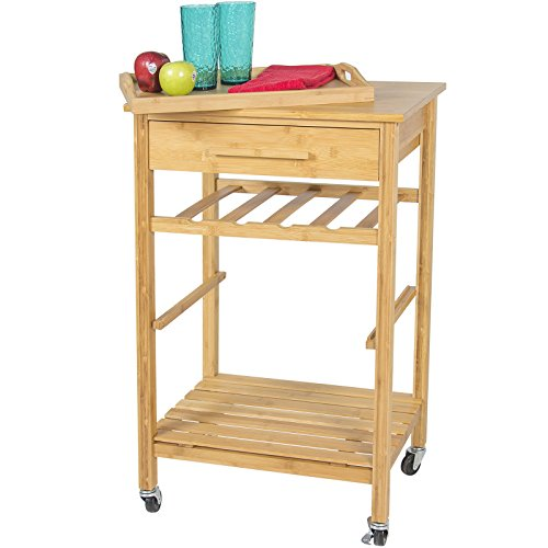 Eight24hours Rolling Wood Kitchen Storage Cart Rack With Drawer & Shelves Home Furniture by Eight24hours (Image #2)