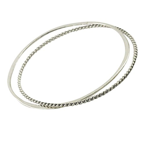 apop nyc 925 Sterling Silver Bangle Bracelet - Set of 2