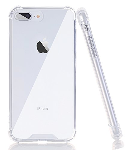BAISRKE Clear Case for iPhone 7 Plus, Slim Shock Absorption Protective Case Soft TPU Bumper & Hard Plastic Back Cover Phone Cases for iPhone 7 Plus / 8 Plus 5.5 - Plastic Iphone Hard