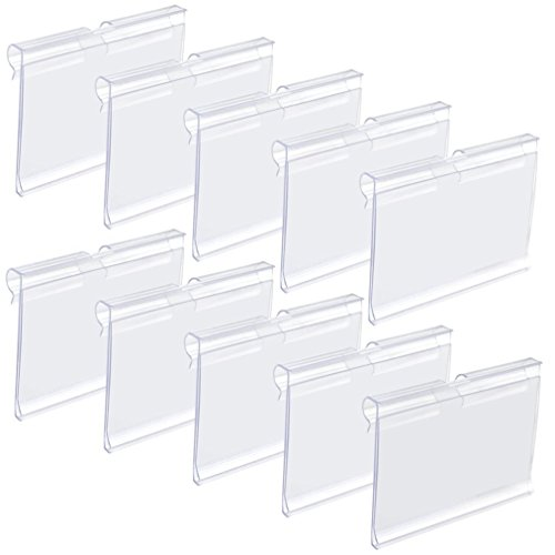 (baotongle 50 PCS Clear Color Plastic Wire Shelf Price Label Holder Merchandise Sign Display Holder)