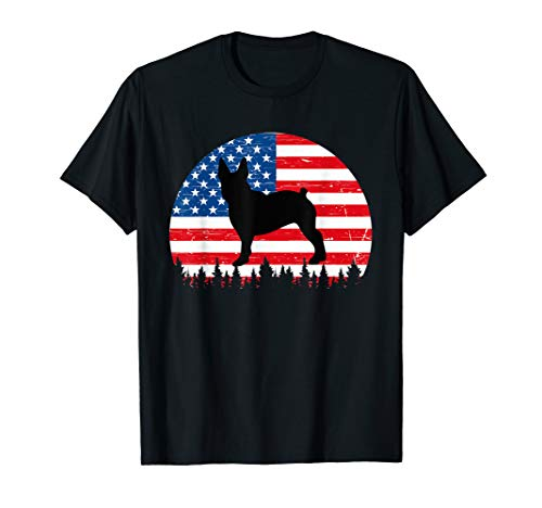 Vintage Retro Boston Terries American Flag 4th of July Gifts T-Shirt (Terrie Boston)
