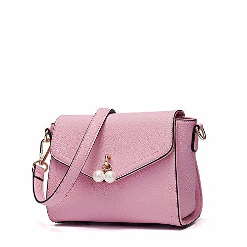 2018 nueva moda bolso unico, cientos de Slant Satchel,Violeta Pink