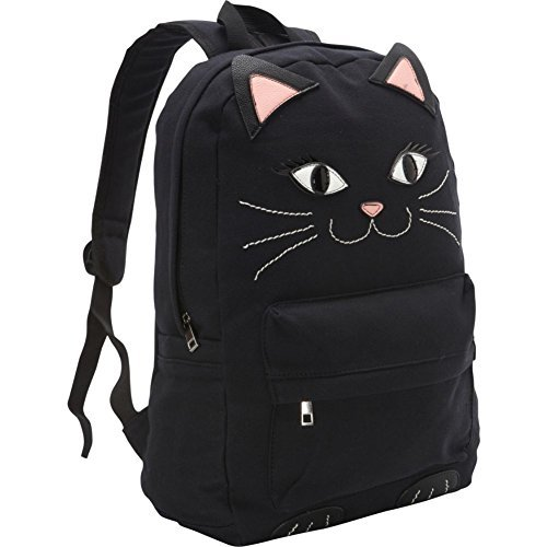 - Black Kitty Cat Canvas Backpack